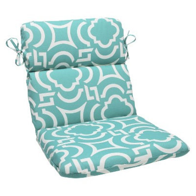 Pillow Perfect Outdoor Rounded Edge Chair Cushion - Blue Green/White Carmody