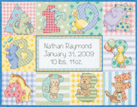 Dimensions Baby Hugs Zoo Alphabet Birth Record Counted Cross Stitch Kit