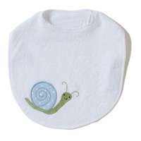 Little Acorn F12T13 White Bib with Blue Snail