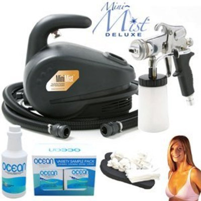 Complete Apollo Mini-Mist Deluxe Sunless Spray Tanning System with a Pint of 8.5% DHA Solution with Medium Bronzer, 4 Solution Variety Pack (1 Pint Total) and Accessories