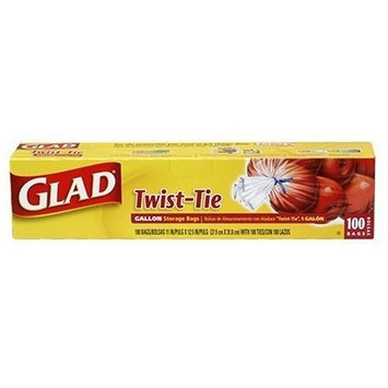 Glad Storage Bags, Original Twist-Tie, Gallon Size 100 bags