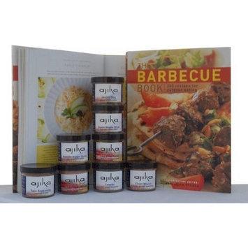 Ajika Grilling Food Gift For The Chef - Barbecue Book & International Meat Kabob, Tandoori, Arabic & Mediterranean Seasonings & Garnish Spices