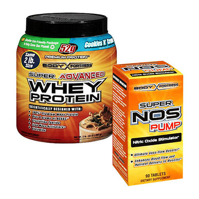 Body Fortress Super Advanced 2lb Cookies n Creme Whey Protein Powder + 90ct Super Nos Pump Nitric Oxide Stimulator Bundle