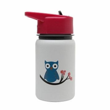 Eco Vessel Scout Kids Stainless Steel Water Bottle w/ Straw Top, White Owl, 13 oz