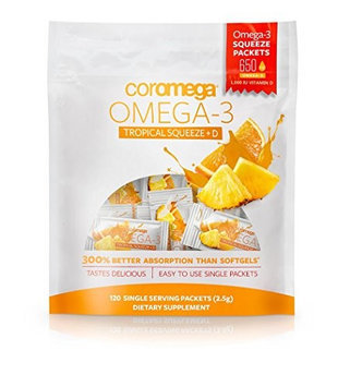 Coromega Omega3 plus D Squeeze Tropical Orange Smoothie 120 Squeeze Packets