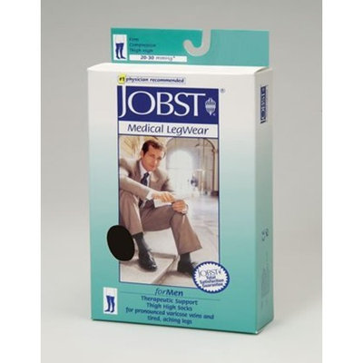 Jobst Men's 20-30 mmHg Closed Toe Thigh High Support Sock Size: Small, Color: Black