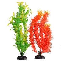 Aquatop Multi-Colored Aquarium Plants 2 Pack - Orange & Green: 2 Pack