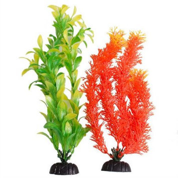 Aquatop Multi-Colored Aquarium Plants 2 Pack - Orange & Green: 2 Pack