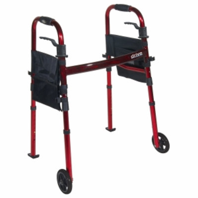Drive Medical Portable Folding Travel Walker with Wheels & Fold up Legs, 5 inch Wheels, 1 ea