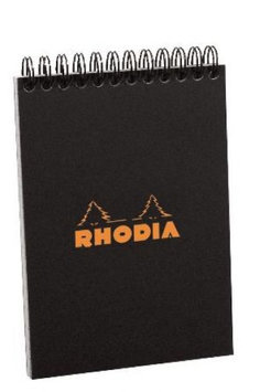 Rhodia #13 Wirebound Notepad 4 x 6 Graph Ruling, Black Cover