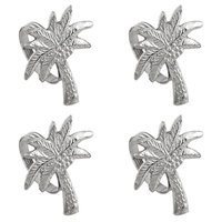 India Handicrafts Shaped Palm Tree Napkin Rings Set of 4 Silver Tone Metal