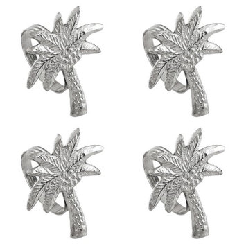 India Handicrafts Shaped Palm Tree Napkin Rings Set of 4 Silver Tone Metal