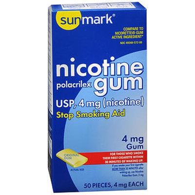Sunmark Nicotine Polacrilex Gum, 4 mg, Original Flavor 50 each by Sunmark