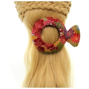 Annie Loto Studios Jewelry Red Medium Circle Kimono Clip Hair Accessory Style, 1.75 in. - 310A
