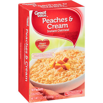 Great Value Peaches & Cream Instant Oatmeal, 10ct
