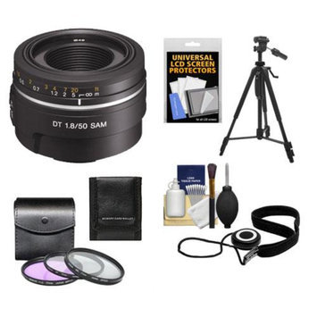 Sony Alpha 50mm f/1.8 DT SAM Lens with 3 (UV/FLD/CPL) Filter Set + Tripod + Accessory Kit for SLT-A57, A58, A65, A77 II, A99 DSLR Camera