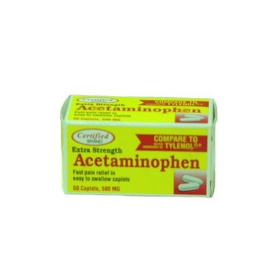 Certified Acetaminophen 50 Caplet Bottle