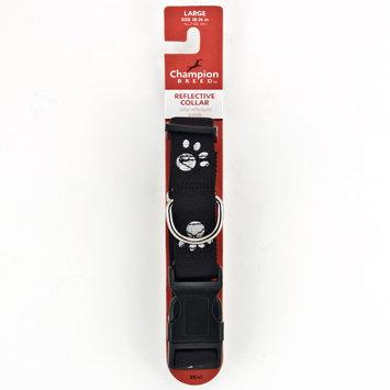 Champion Breed Black Paw Print Reflective Dog Collar, Large 1