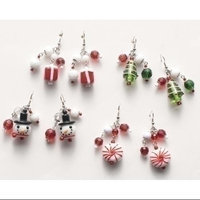 Roman Pack of 8 Pairs of Traditional Christmas Jewelry Glass Earrings with Dangles