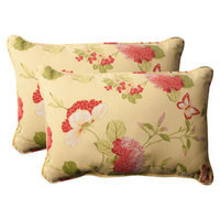 Pillow Perfect Outdoor 2-Piece Rectangular Toss Pillow Set - Yellow/Red Floral