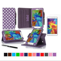 rooCASE Samsung Galaxy Tab 4 7.0 SM-T230 Tablet Case - Dual View Multi-Angle Stand Cover Pen Stylus with Ultra HD Plus Anti-Fingerprint Bubble Free Clear Screen Protector for Tab4 7