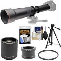 Vivitar 650-1300mm f/8-16 Telephoto Lens with 2x Teleconverter (=2600mm) + Tripod + Filter Kit for Olympus Pen/OM-D & Panasonic Lumix Micro Four Thirds Camera