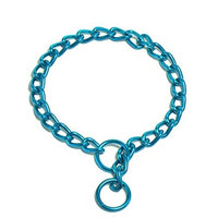 Platinum Pets 2-1/2mm Coated Chain Dog Collar 16-Inch, Caribbean Teal