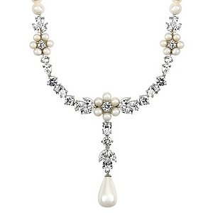 Emitations Tolla's Bridal Pearl And CZ Dangle Necklace