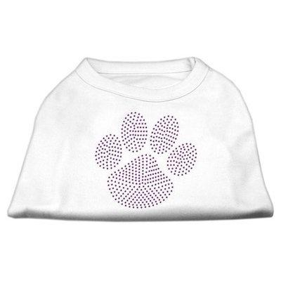 Mirage Pet Products 5259 XXXLWT Purple Paw Rhinestud Shirts White XXXL 20