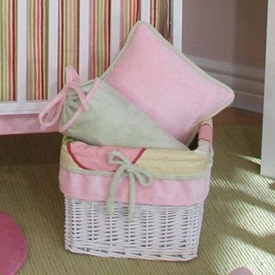 Brandee Danielle Bubbles Pink Wicker Basket