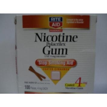 Rite Aid Pharmacy Stop Smoking Aid, 4 mg, Coated Gum, Cinnamon, 100 pieces