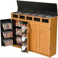 Venture Horizon Top Load Media Storage Cabinet in Oak Finish w Black Interior