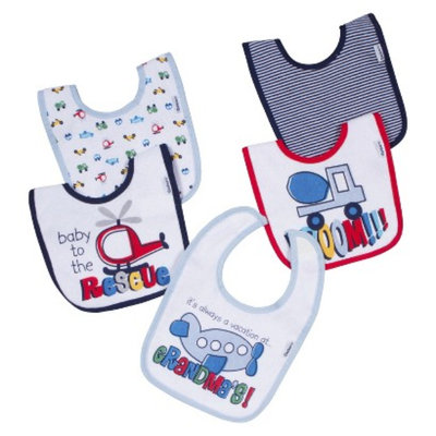 Gerber Newborn Boys' 5 Pack Bib Set - Blue