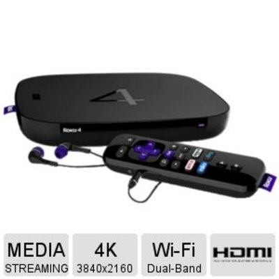 D and H Distributing Roku 4 Streaming Media player – 2500+ Channels, 4K UHD, Dolby Digital Plus 7.1 Audio, Remote w/Voice Search, Lost Remote Finder, Motion-Control, Headphone, Wi-FI 802.11ac, Ethernet, USB - 4400R
