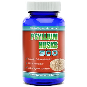 Private Label Nutraceuticals Psyllium Husks 500mg Dietary Supplement - Rich in Soluble Fiber 60 Capsules