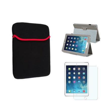 Insten INSTEN Grey PU Leather Case Stand Cover+Matte Protector/Sleeve For Apple iPad Air 5 5th Gen