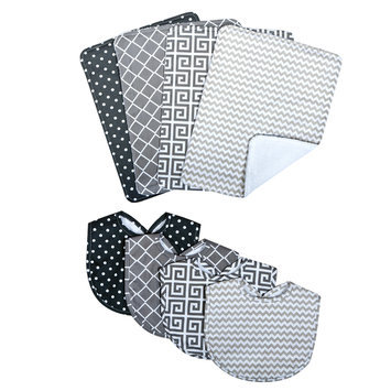 Trend Lab Llc Trend Lab Ombre Gray Bib and Burp Cloth Set