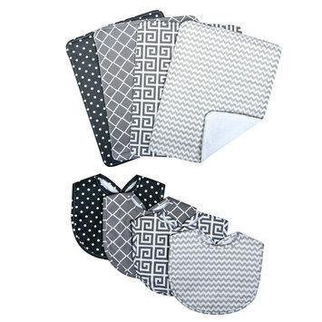 Trend Lab Llc Trend Lab Ombre Gray Bib and Burp Cloth Set