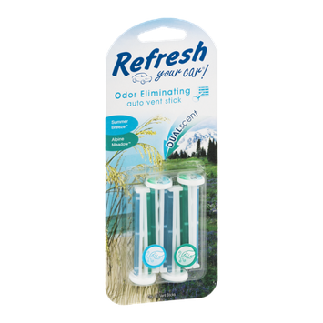Refresh Your Car! Odor Eliminating Auto Vent Stick Summer Breeze/Alpine Meadow - 4 CT