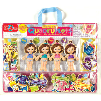 T.s. Shure T.S. Shure Teeny Tiny Quadruplets Wooden Magnetic Dress-Up Doll Set