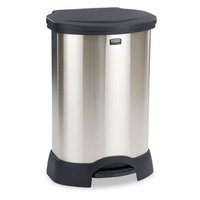 Rubbermaid Step-On Container, Stainless Steel, 30 gal, Black