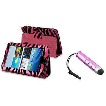 Insten INSTEN Pink/Black Zebra Stand Leather Case Cover for Samsung Galaxy Tab 2 7.0 7