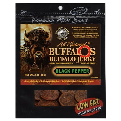 Golden Valley Natural Buffalo Jerky, Peppered, 3-Ounce Pouch (Pack of 8)
