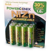 PowerGenix ZRPGX-AA8 AA 1.6v 2500 mWh ZiNc High-Voltage Rechargeable Batteries -8 Pack (Green)