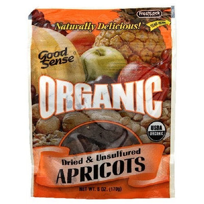 Good Sense Organic Dried & Unsulfured Apricots, 6-Ounce Bag (Pack of 6)