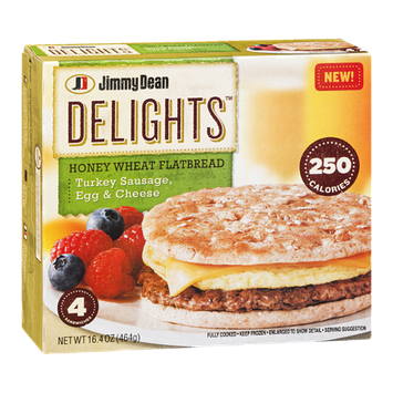 Jimmy Dean Delights Honey Wheat Flatbread Turkey Sausage, Egg & Cheese - 4 CT