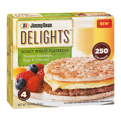 Jimmy Dean Delights Honey Wheat Flatbread Turkey Sausage, Egg & Cheese - 4 CT