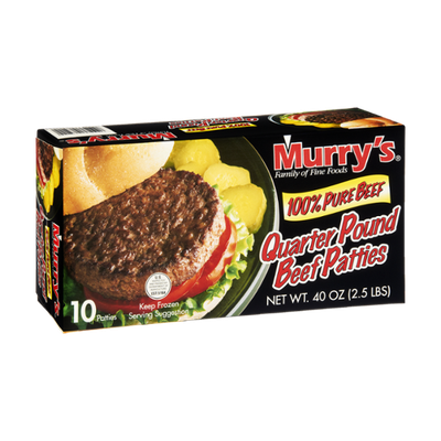 Murry's 100% Pure Beef Quarter Pound Beef Patties - 10 CT