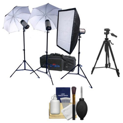 RPS Studio 600 Watt/Second SB-200 Monolite Studio Kit (RS-SB/DLK3) 3 Strobes & Stands, 2 Umbrellas, Soft Box, PC Cords, Wireless Flash Trigger, Case + Tripod