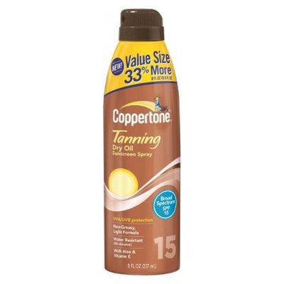Coppertone Tanning Dry Oil Sunscreen Spray with SPF 15 - 8 oz